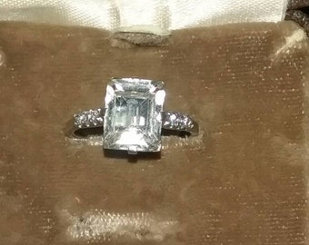 Vintage Uncas Ring - Art Deco Ring-  Emerald Cut Engagement Ring