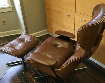 RESERVED for Turchincole-Eames style lounge chair & ottoman brown leather bent oak plywood chrome vase