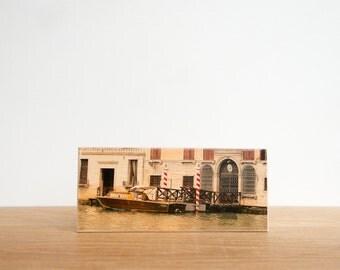 Venice Boat, Italy Photo Art Block, Canal Boating, Italy Photography Mini, Venice Photography, Patrick Lajoie