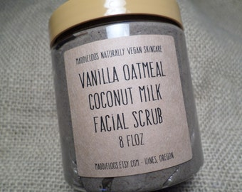 VEGAN-Vanilla Oatmeal Coconut Milk Facial Scrub- Made with Pink Sea Salt, Organic Coconut Milk and Colloidal Oatmeal-8oz.