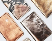Metallic shades natural leather double credit card / cash holder / wallet - Ready to Ship