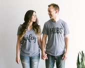 Hubs & Wifey T-shirts SET of 2 Sold Together • Matching Husband and Wife Adult Shirt Set • Super Soft Matching Gray Tees • FREE SHIPPING