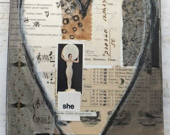 "ORIGINAL ART - ""She is Lovable"" HEART Collage on Canvas by Helga Strauss - Moon Goddess"