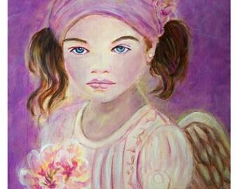 Original 8 x 10 Child Angel Fine Art Angel Print, Inspirational, Children's Decor, Nursery room, Purple, Earth Angel,Spring,  Cherry blossom