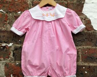Vintage Baby Romper, pink onesie, baby onesie, vintage baby clothes, baby girl clothes, baby girl outfit, baby girl onesie, pink, romper
