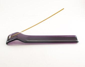 Incense Stick Burner, Incense Holder, Ash Catcher, Meditation Room, Yoga Studio Decor, Fused Glass, Deep Purple, Zen Gifts for Women