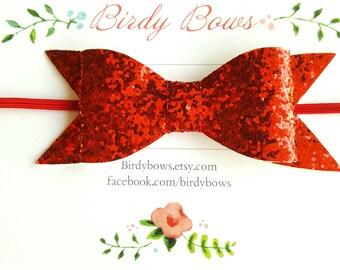 Red Glitter Baby Bow Headband, Baby Headbands, Infant Headbands, Baby Girl Headbands, Infant Bow, Baby Bow, Girl Bow,Girl Headbands