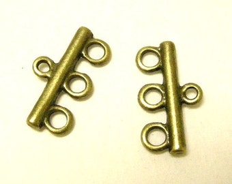 6pc antique bronze metal 3 hole bar/connectors-6122