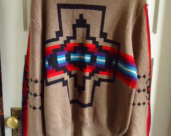 Vintage 80s PENDLETON WOOL Western Sweater TRASHED...sz L