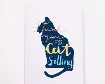 Thank-you For Cat Sitting A6 Typographic Greetings Card