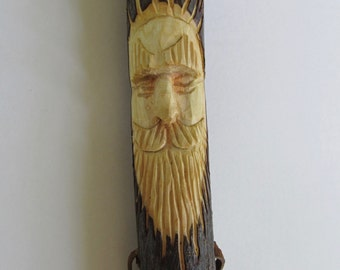 Hiking Stick Wood Spirit Face Walking Stick Staff Hand Carved Gift for Walker Gift for Hiker Birthday Anniversary