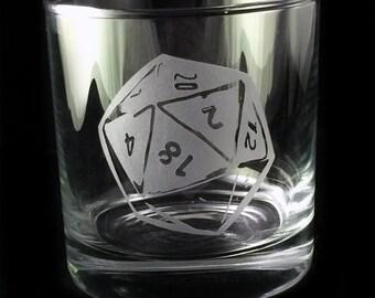 D20 Gamer Game Dice Design Custom Etched Whiskey Rocks Glass