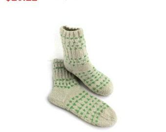 10%SALE Wool Women Socks. Hand Knitted Winter Socks. M women socks size