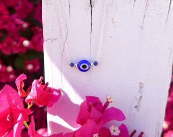 Evil eye with Lapis Lazuli and Sterling Silver beads