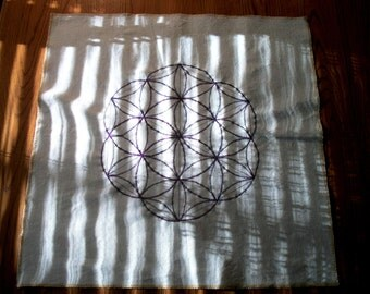 "Flower of Life Crystal Grid Tabletop Mat. Wall Art. Purple and Green thread on Flax Linen fabric. 20"" x 20"". U.S.A. made"