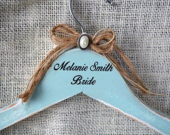 Shabby Chic Wedding Hanger Wood Personalized - Engraved