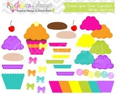 80% OFF - INSTANT DOWNLOAD,  Cupcake maker - cupcake clip art - commercial use -  - personal use - digital element - card making