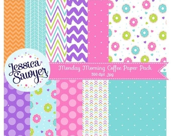 80% OFF - INSTANT DOWNLOAD, donut digital papers or cute backgrounds