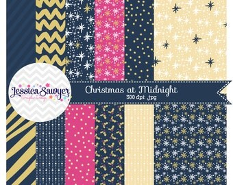 INSTANT DOWNLOAD, Navy and Gold Digital Papers for personal and commercial use