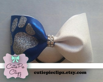 Paw Print Glitter Tail-less Cheer Bow