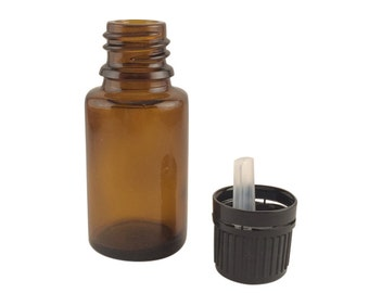 One 15 ml Amber Glass Bottle with tamper evident cap and orifice reducer