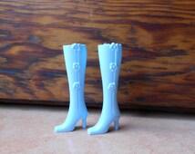 Barbie boots, original Barbie boots, 1990 Barbie light blue boots.