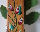Mezuzah Case, Floral Mezuzah, Wooden Mezuzah case, Dark Red Mezuzah, White Mezuzah Green Mezuzah Brown Mezuzah Israeli Mezuzah OOAK Burgundy