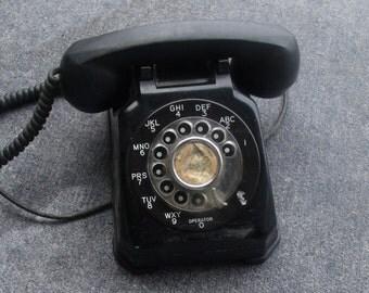 Dial phone mid centuery black antique