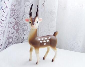 Vintage Plastic Deer Figure Japan Mid Century  Christmas Reindeer