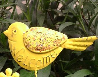 Metal Bird Garden/Flower Pot Stake - Sunny Yellow Metal Yard Art - Welcome Stake - Window Box Housewarming Birthday