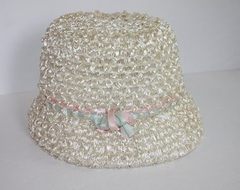 Vintage Handmade Straw Ladies Hat/White Woman's Hat/1970's Lady's Hat/Retro Woman's Hat
