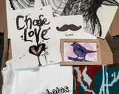 Original Art Gift Box, Original Illustrations, Canvas, Framed Bird Illustration, Qoute, Screen Printed T-shirts and other Extras SALE