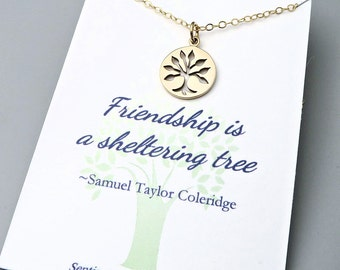 Gold Tree Necklace - best friends - friendship necklace - gold fill - message card - gift for friend