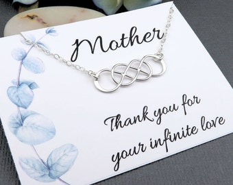 Infinity Necklace - double infinity - mothers day - mother of the bride - sterling silver - message card - gift for mom - thank you