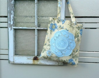 Totebag, shopping bag in a lovely yellow and blue floral cotton, vintage hand dyed blue doily accent, shoulder bag length handles, beach