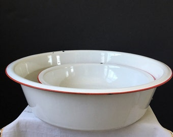 Enamelware Bowls White with Red - 16 and 12 Inches - Set of Two