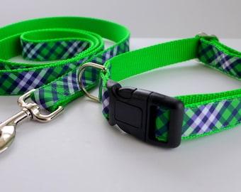 Green and Blue Plaid  Dog Collar / Dog Collar Set / Colorful Dog Collar and Leash Set