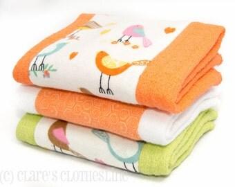 Baby Burp Cloths - Orange and Green Birds Burp Cloth Set of 3 - READY TO SHIP