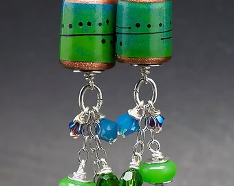 Ocean Breezes, lampwork Earrings including Sterling Silver and Swarovski Chrystal beads - Glass Art by Michou P.Anderson
