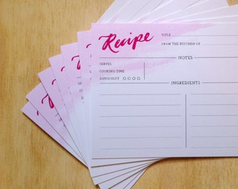 Hand-Lettered Recipe Card Pack of 10