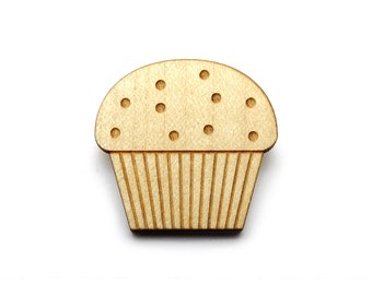 Muffin brooch  - Muffin jewelry  - maple wooden jewellery - wood and metal pin - lasercut minimalist jewelry
