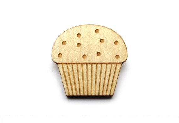 Muffin brooch - cake pin - graphic food accessory - cute kawaii cupcake jewelry - lasercut maple wood - retro - kitsch - vintage style