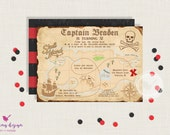 Pirate Invitation // Treasure Map  //  Personalized // Printable // Thank You Cards // Address Labels // Pirate Party