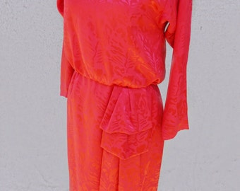 70's 80's Bright Red Dress, Conservative Dress, Long Sleeve Dress, Mid Length Dress, Colorful Dress