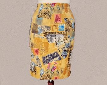 SALE // 90's Mini Skirt, High Waisted Skirt, Short Yellow Skirt, Stamp Design, Yellow Mini Skirt, Fitted Skirt, Unique Print