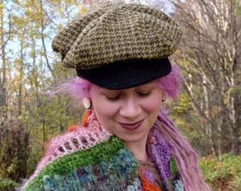 Newsboy hat woman Plaid cap Woman hat Tweed cap Woman plaid hat Tweed hat Woman wool hat Fabric hat Newsboy cap woman ON SALE