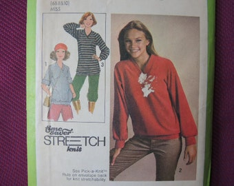 vintage 1970s Simplicity sewing pattern 8618 misses pullover tops in two lengths size 6/8/10