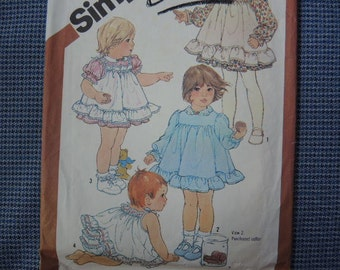 vintage 1980s Simplicity sewing pattern 5777 girls toddler dress pinafore and panties size 2 UNCUT