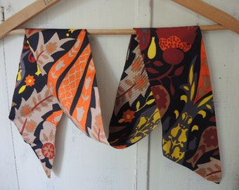 Vintage 1970s acetate scarf abstract floral 5 x 47 inches