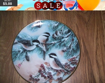 SALE Bird collectors Plate, Sparrows and Evergreens, Franklin Mint Heirloom Recommendation series